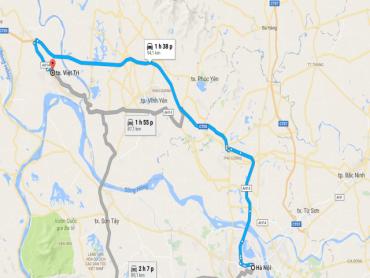 Hình ảnh bản đồ Hà Nội đi đến đền Hùng, Phú Thọ
