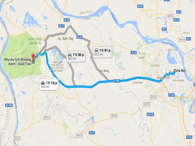 Đi từ Hà Nội đến Khoang Xanh Suối Tiên