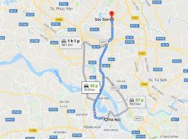 từ Hà Nội đến Sóc Sơn bao nhiêu km